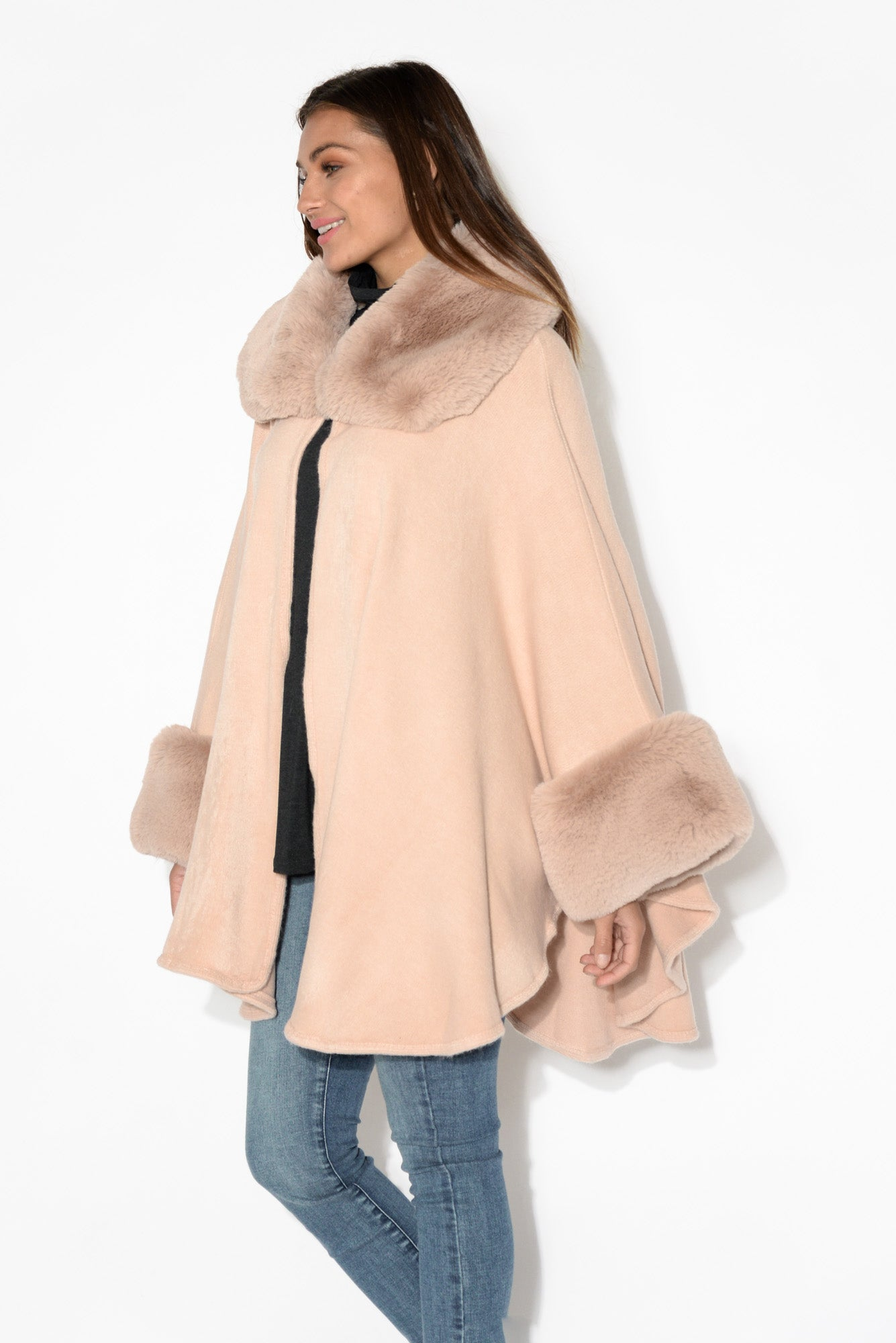 Vera Blush Wool Knit Cape