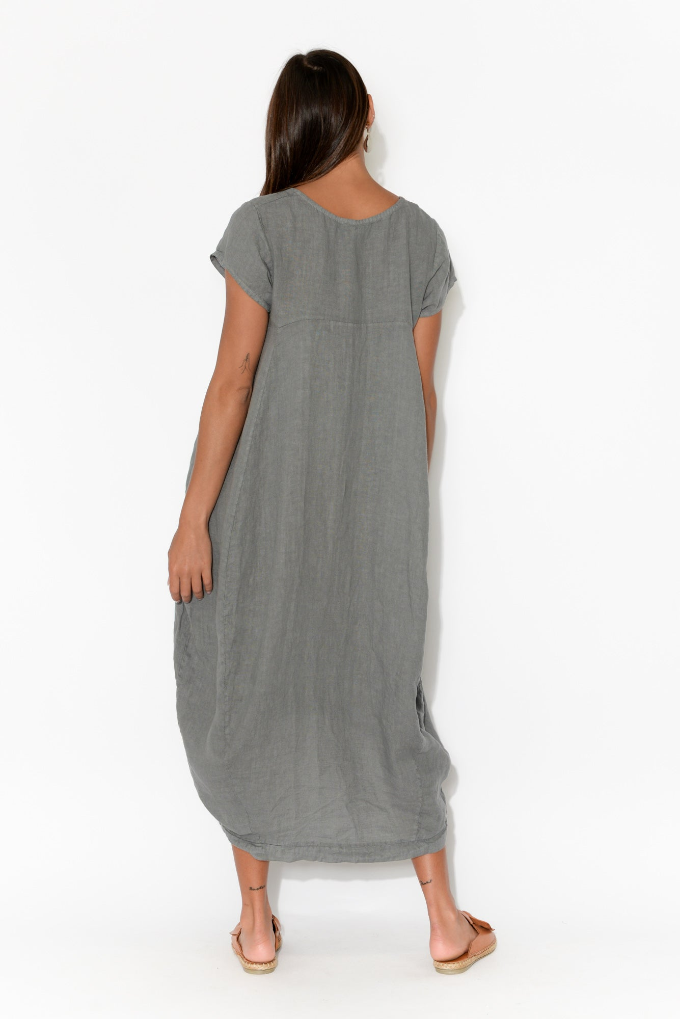 Verity Grey Linen Dress