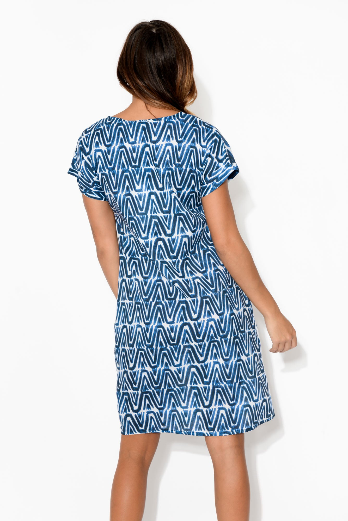 Via Blue Cap Sleeve Dress