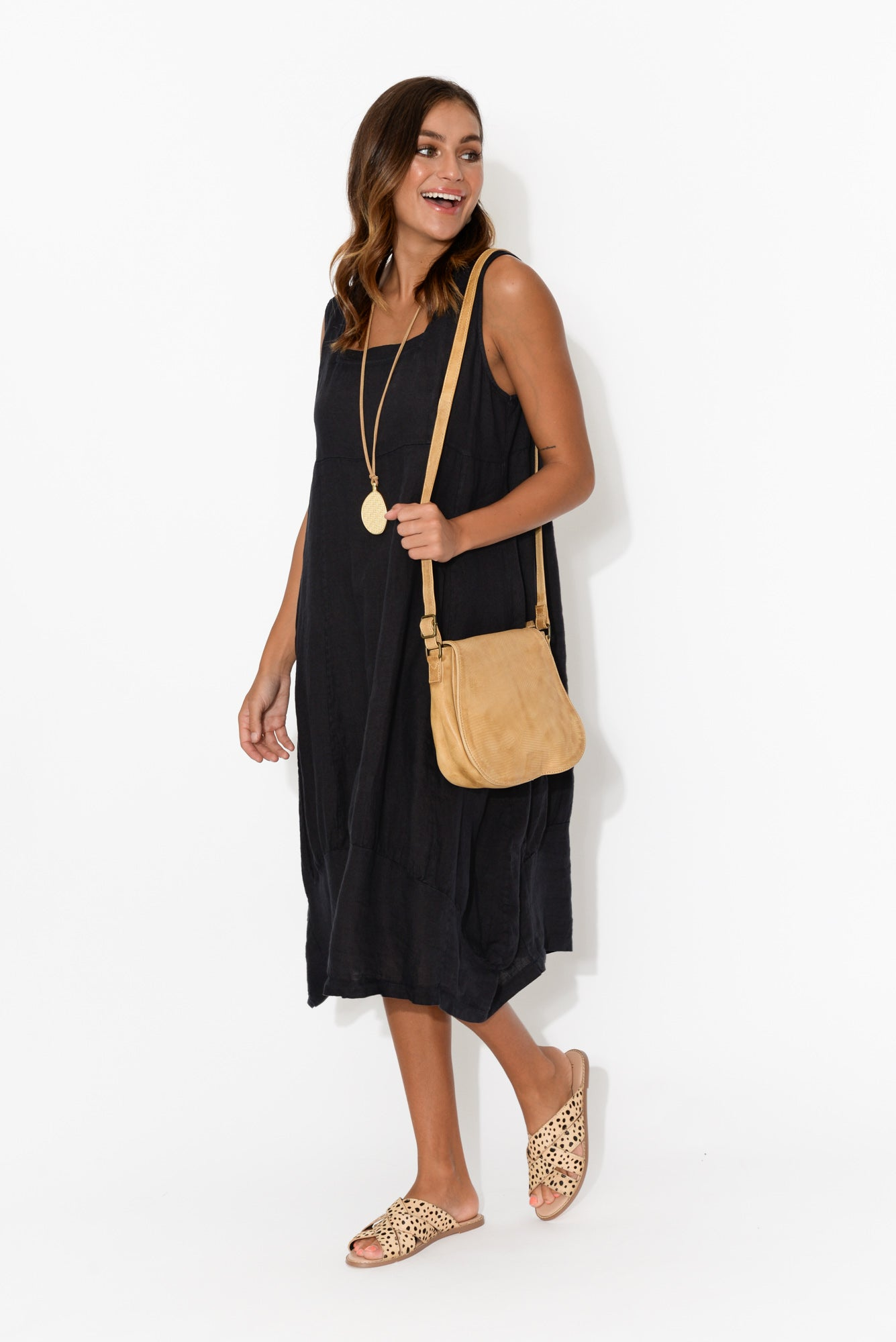 Victoria Navy Linen Pinafore Dress