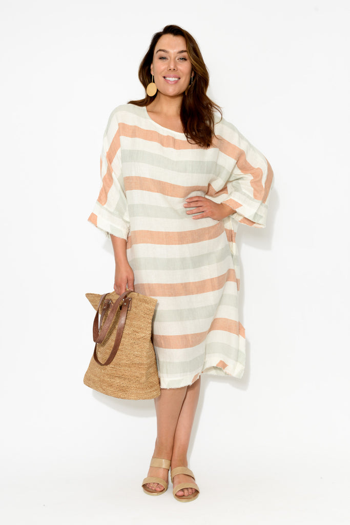 Vienna Stripe Fringed Dress