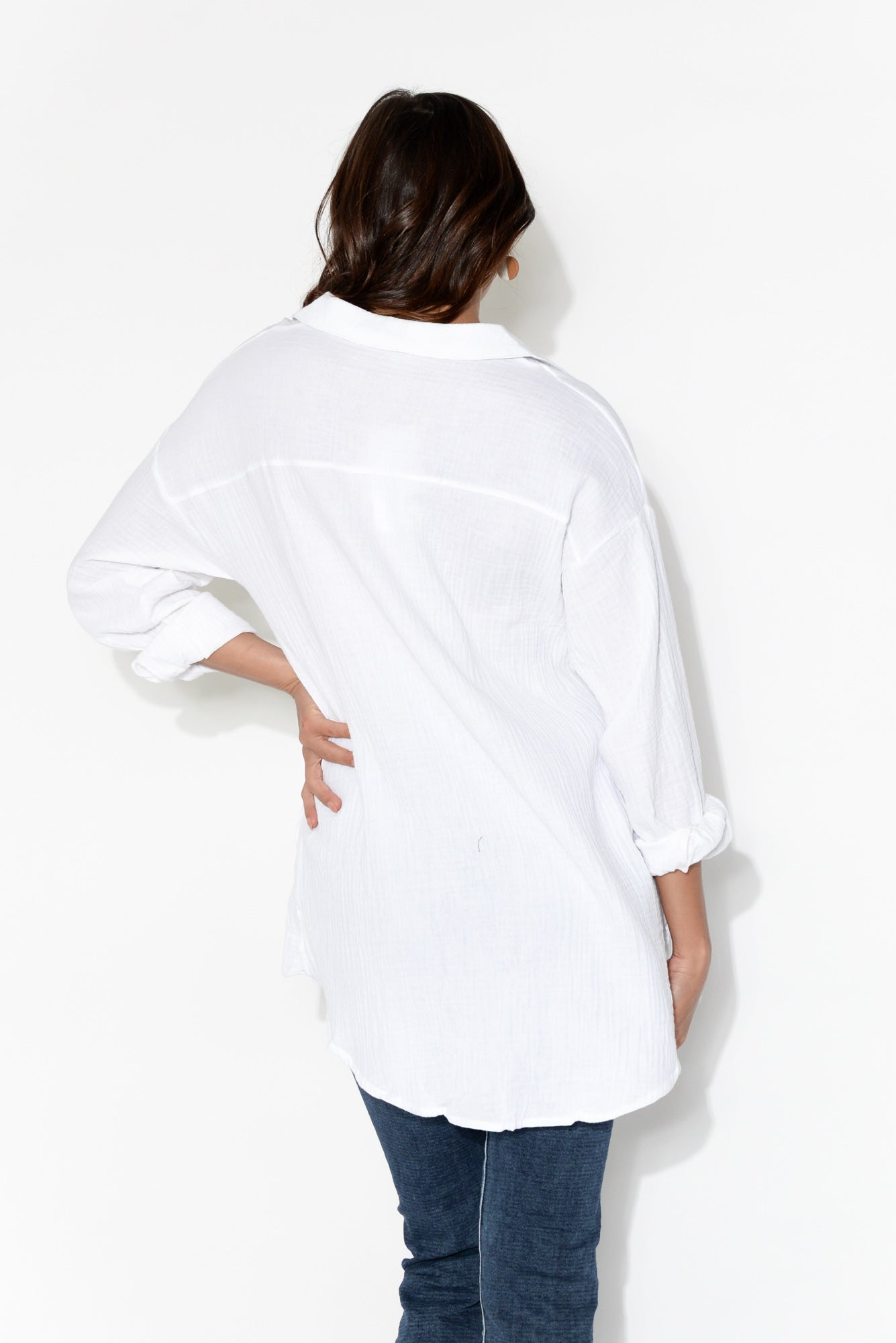 Vivian White Collared Top