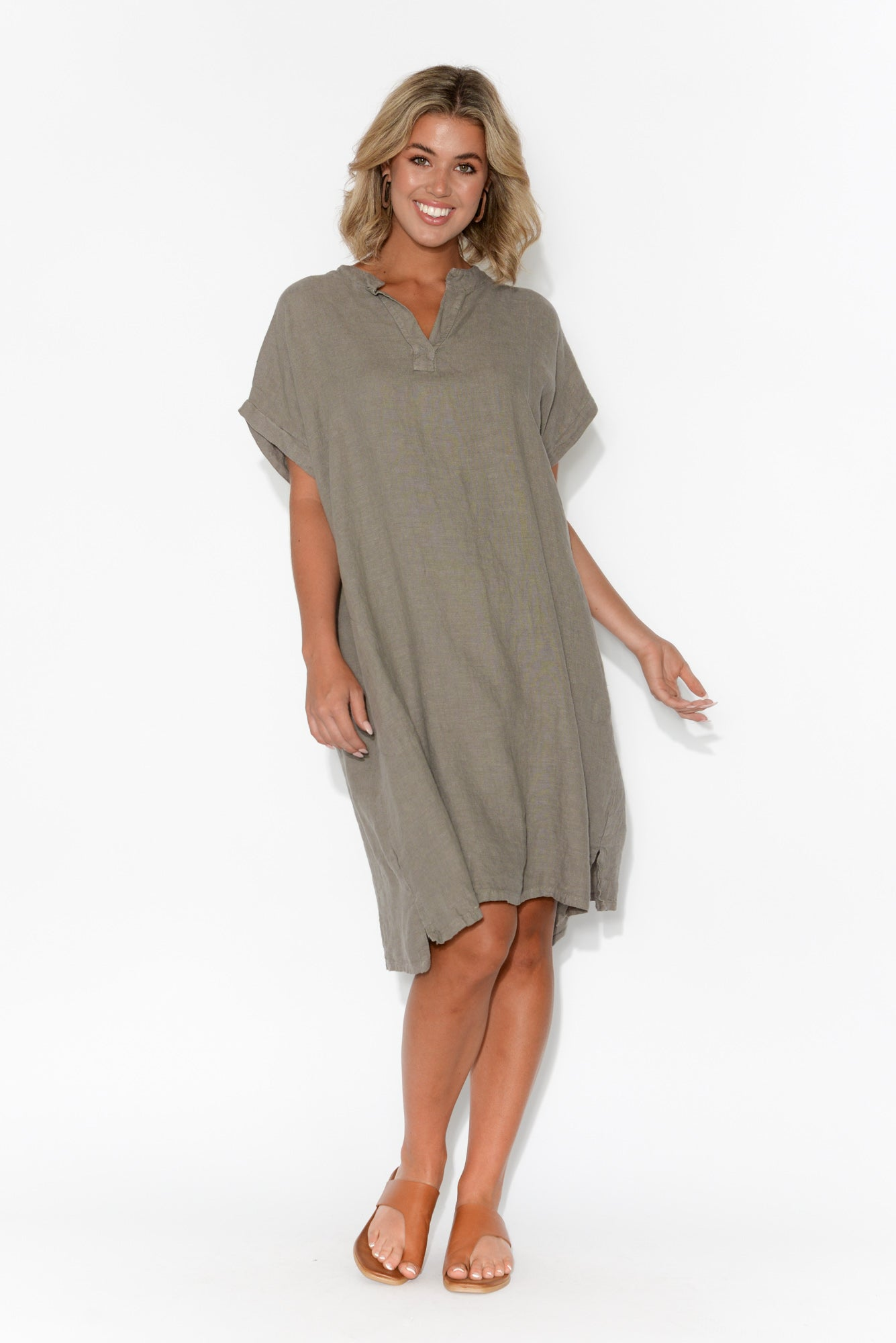 Vonny Taupe Linen Sleeved Dress