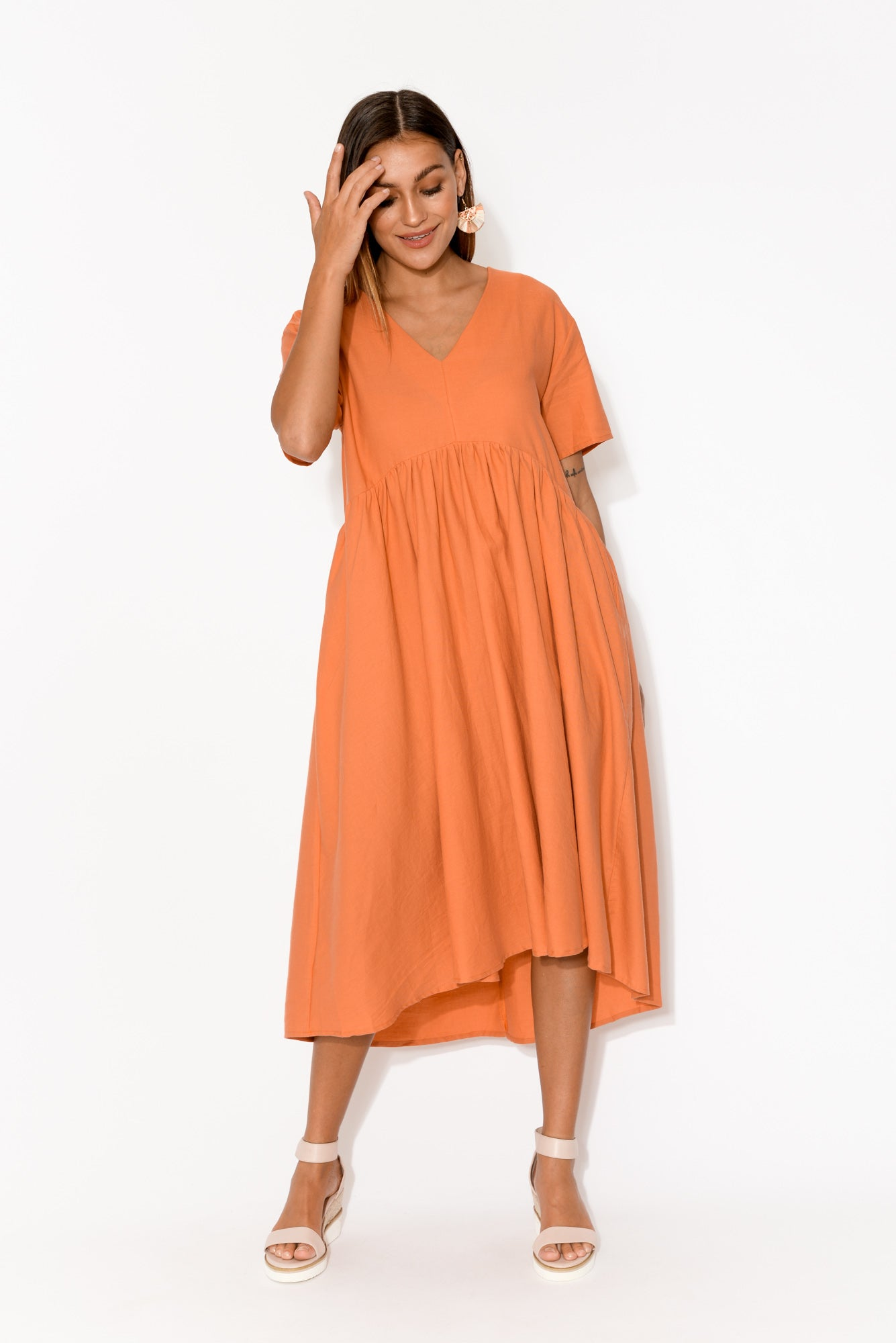 Wanda Coral Short Sleeve Cotton Dress