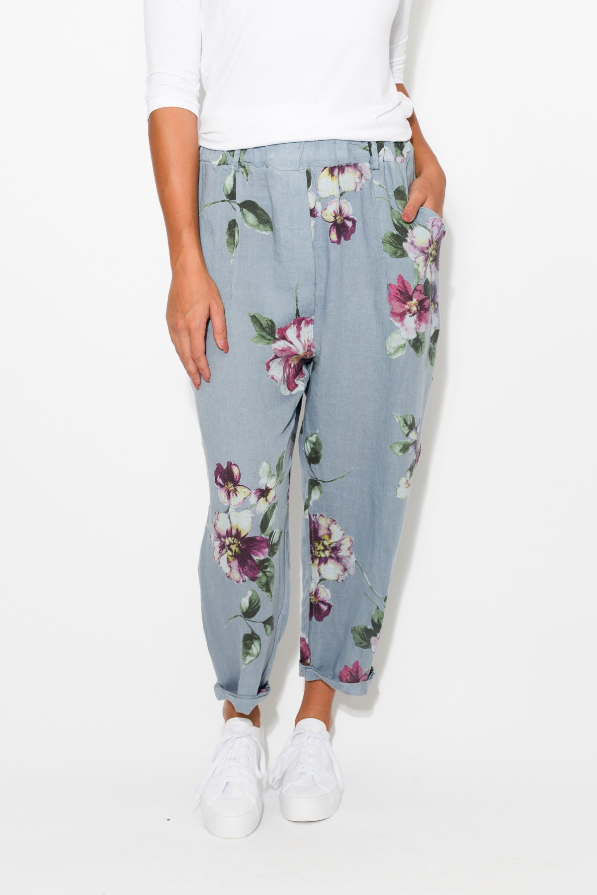 Washed Blue Floral Linen Pant - Blue Bungalow