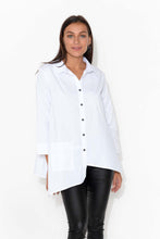 Wesley White Asymmetrical Cotton Shirt