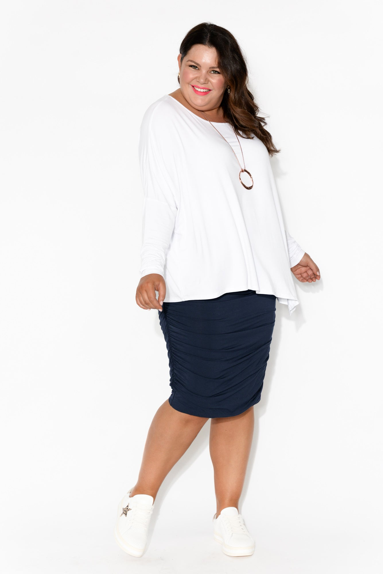 Navy Bamboo Ruched Skirt