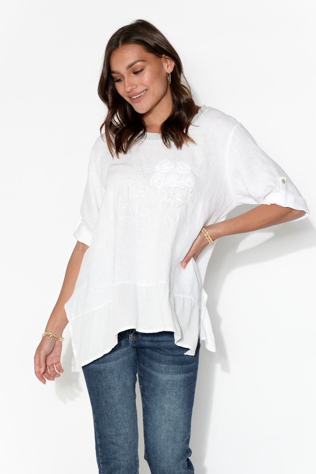 White Bicycle Sequin Embellished Top