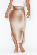 White Bronze Stripe Bamboo Maxi Tube Skirt