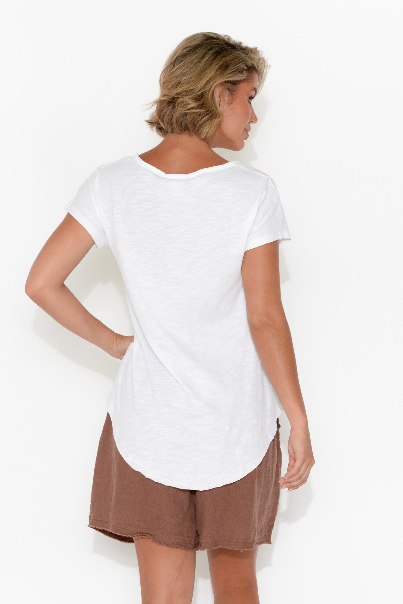 White Cotton Fundamental Vee Tee