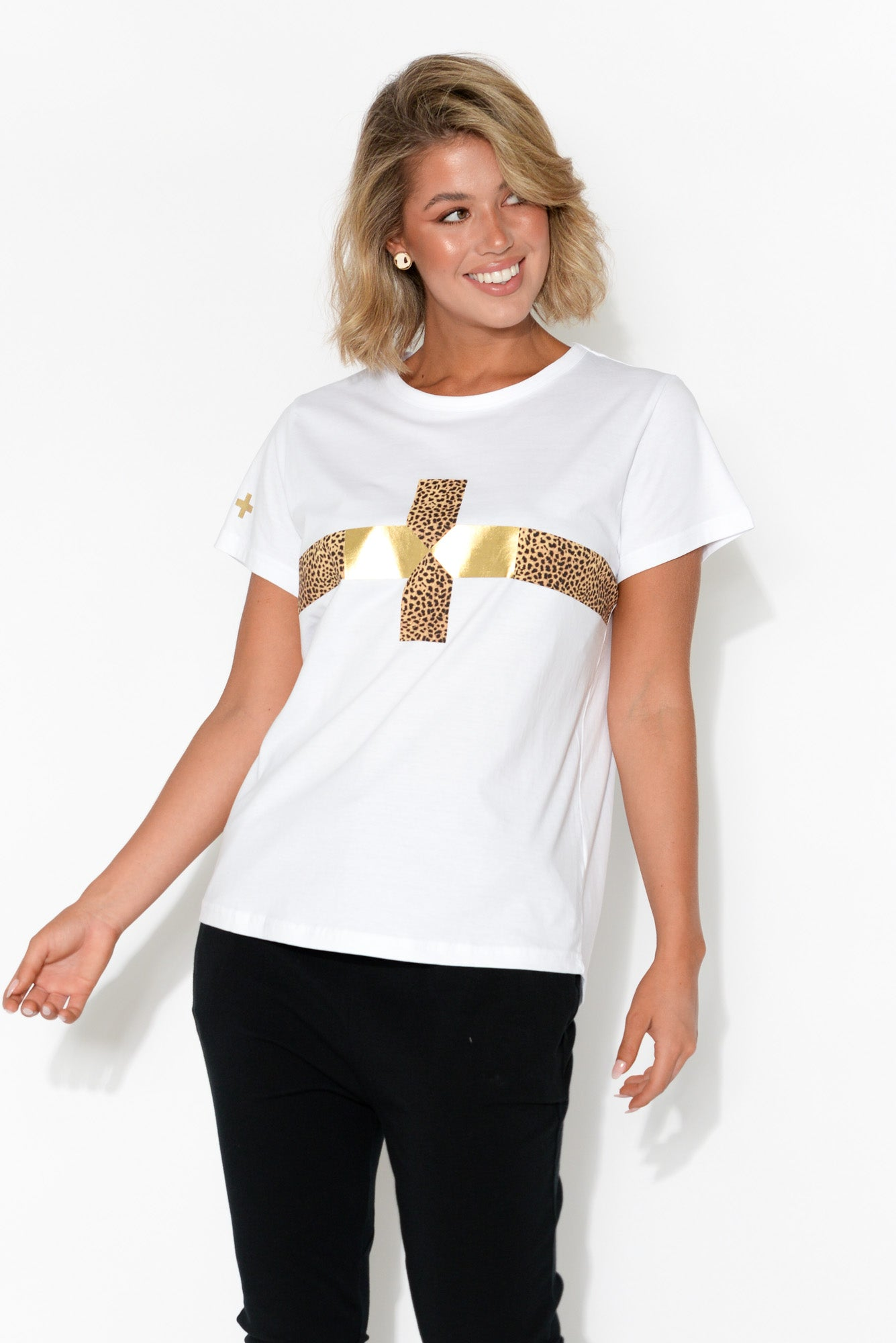 White Gold Cheetah Cross Tee