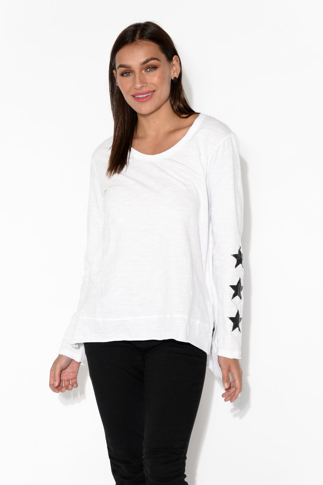 White Star Long Sleeve Cotton Tee