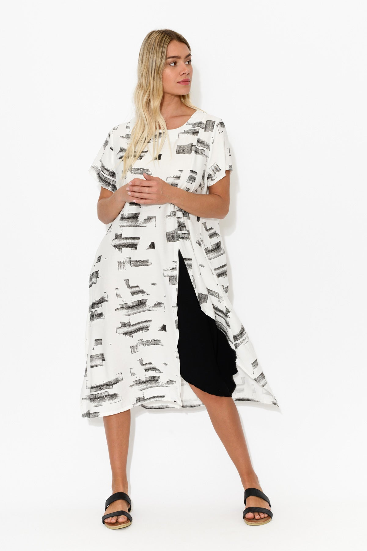 White Abstract Panel Dress