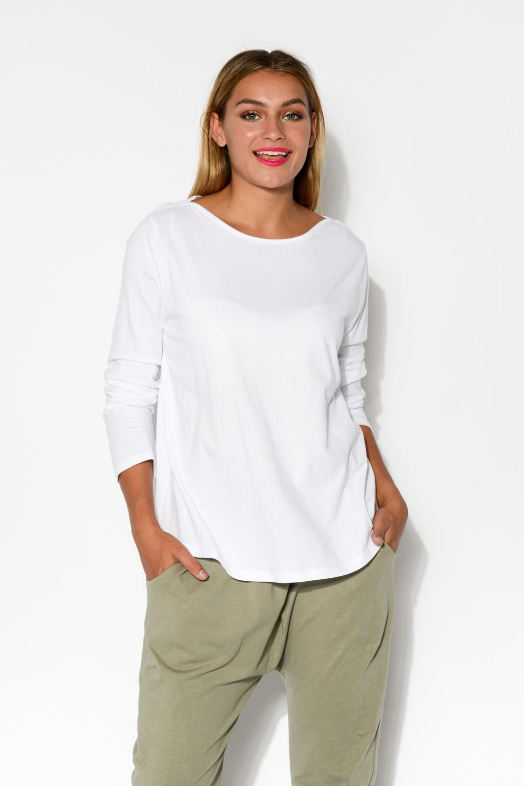 White Boatneck Cotton Bamboo Top - Blue Bungalow