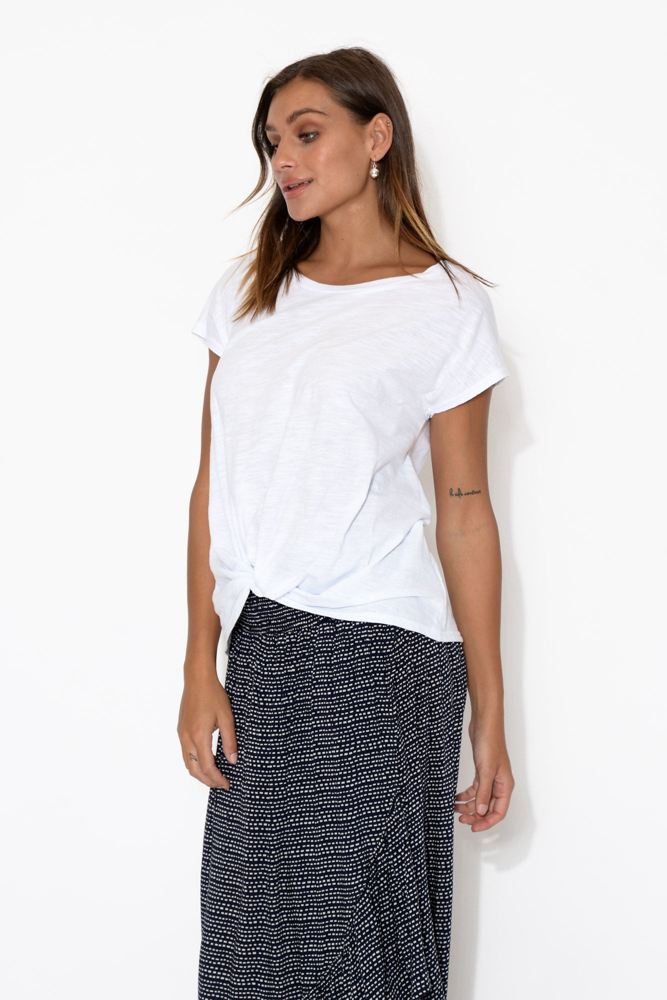 White Cotton Slub Twist Tee