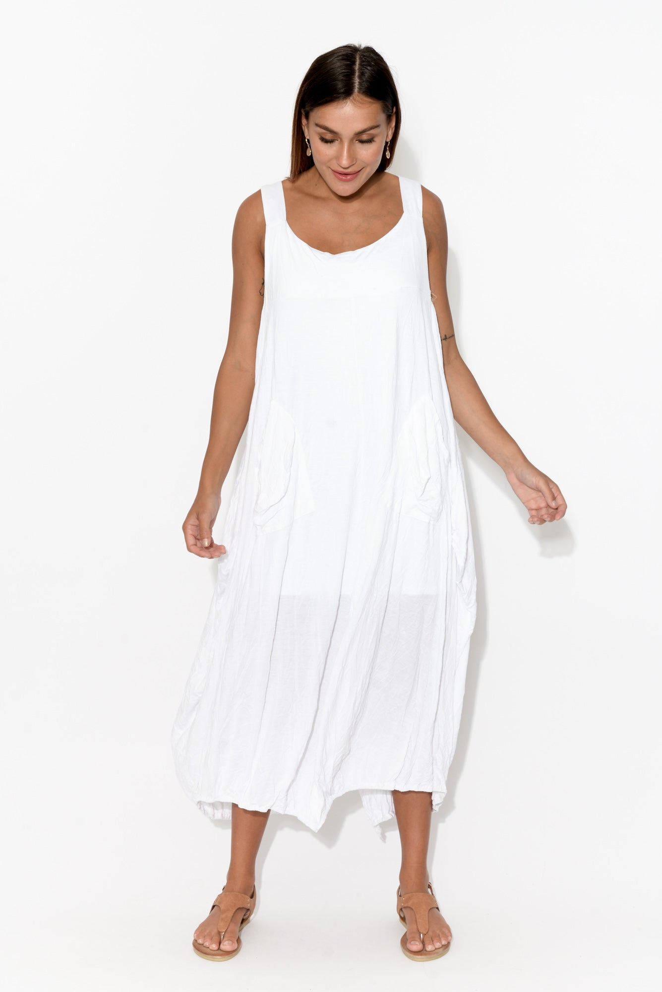 White Crinkle Cotton Pinafore Dress