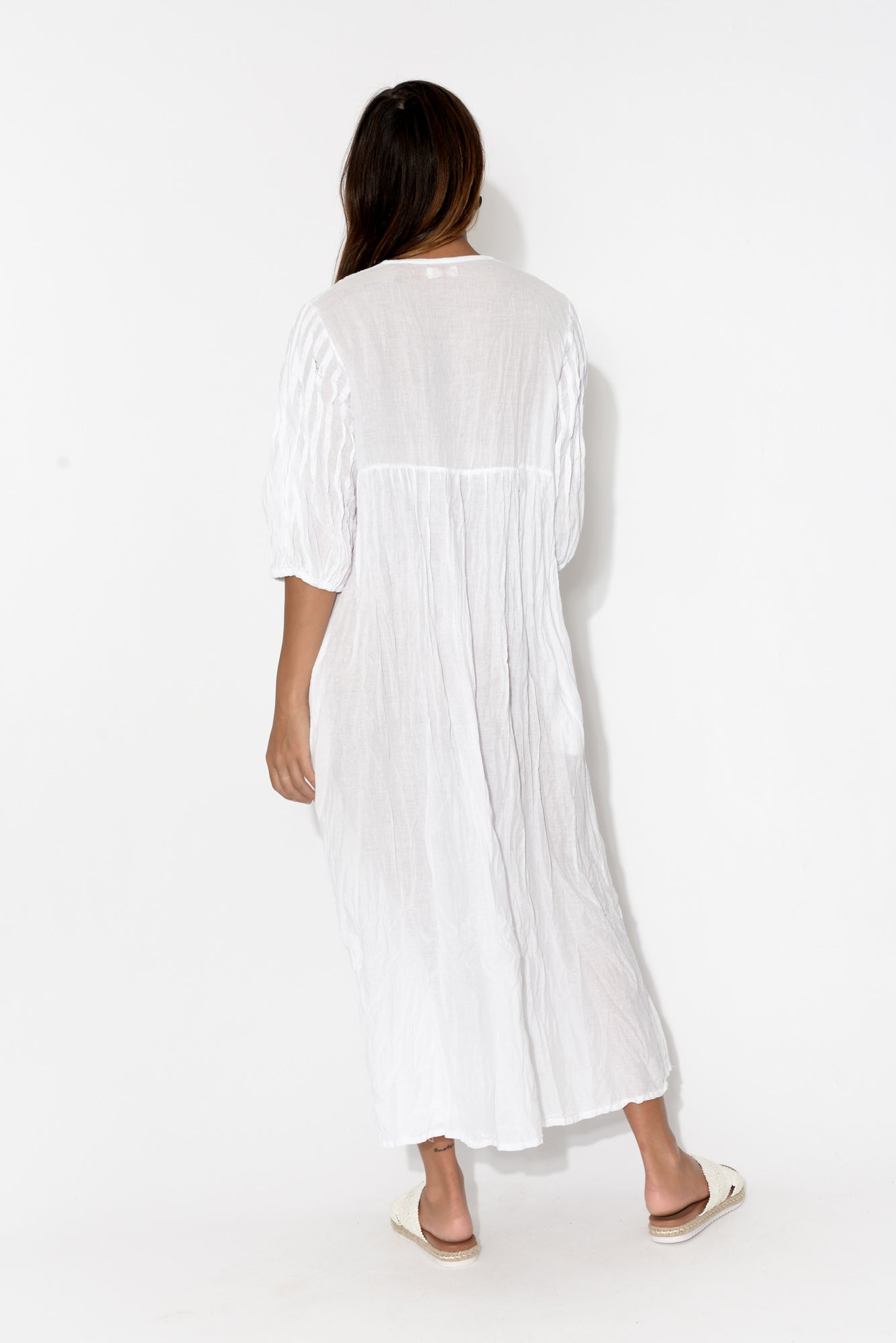 White Crinkle Cotton Pleat Dress