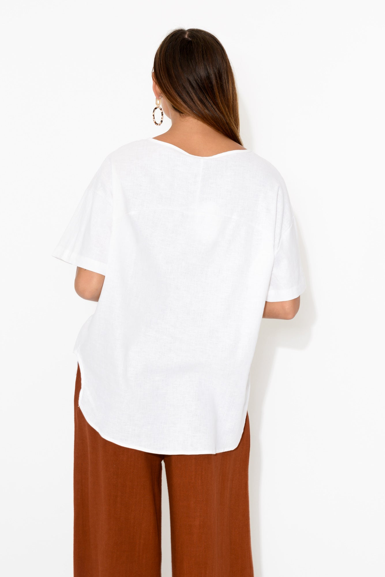 White Curved Hi Lo Top
