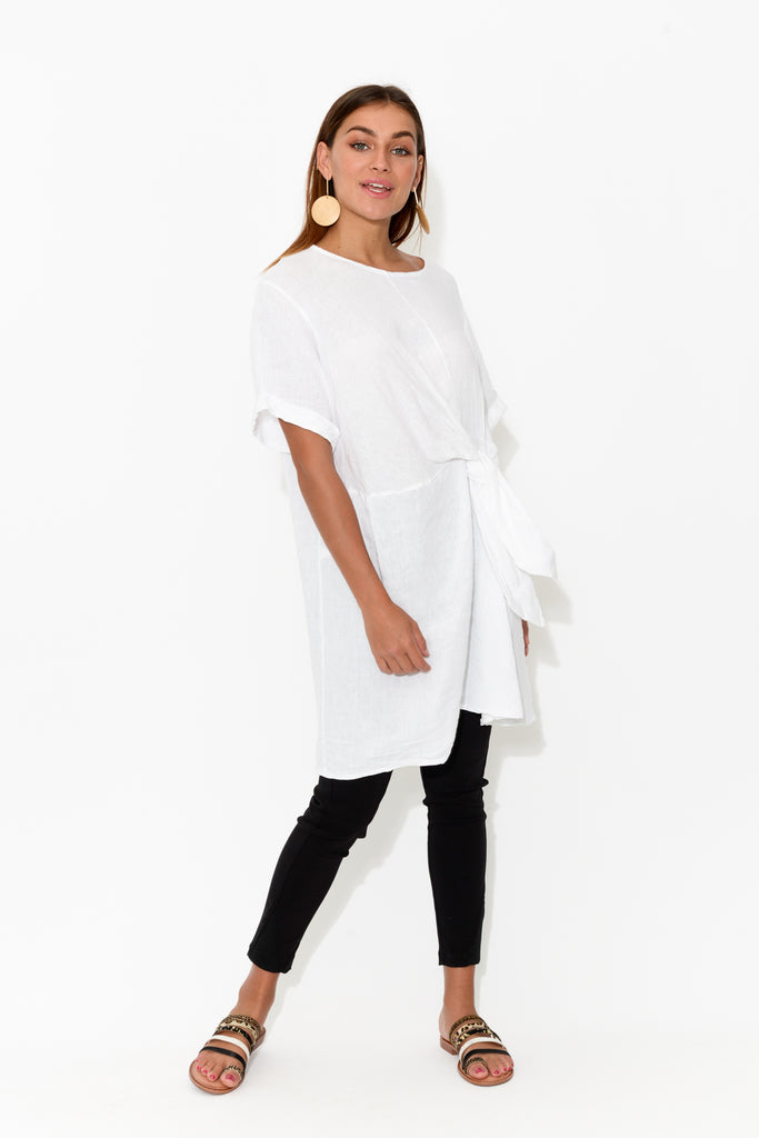 White Knot Front Linen Tunic