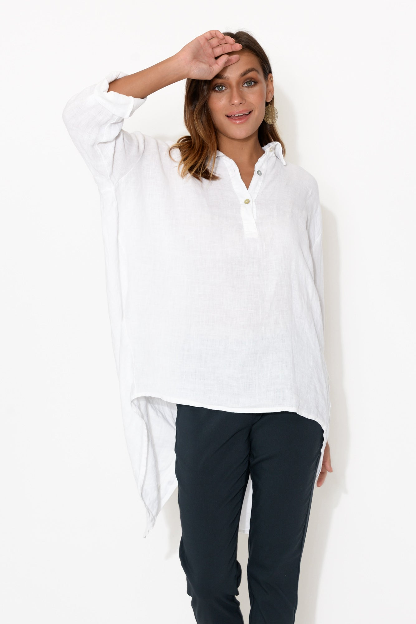 White Linen Oversized Shirt