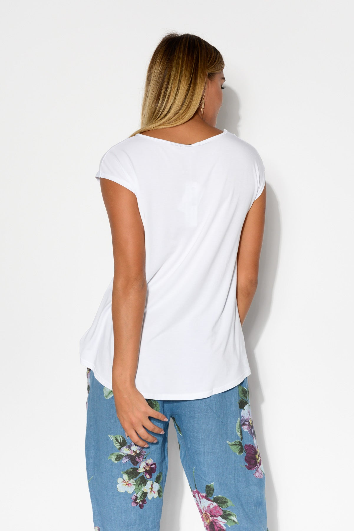 White Modal Cap Sleeve Tee - Blue Bungalow