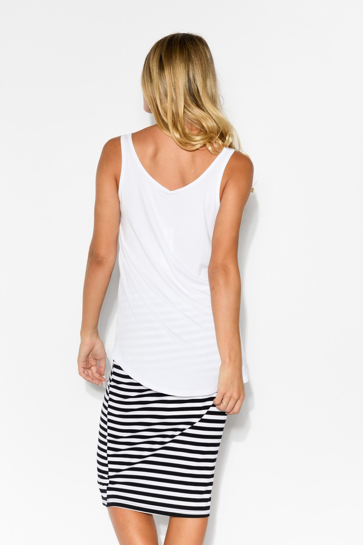 White Modal Singlet Top - Blue Bungalow