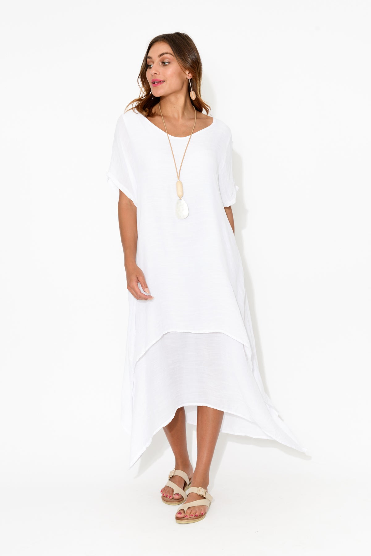 White Tiered Cotton Dress