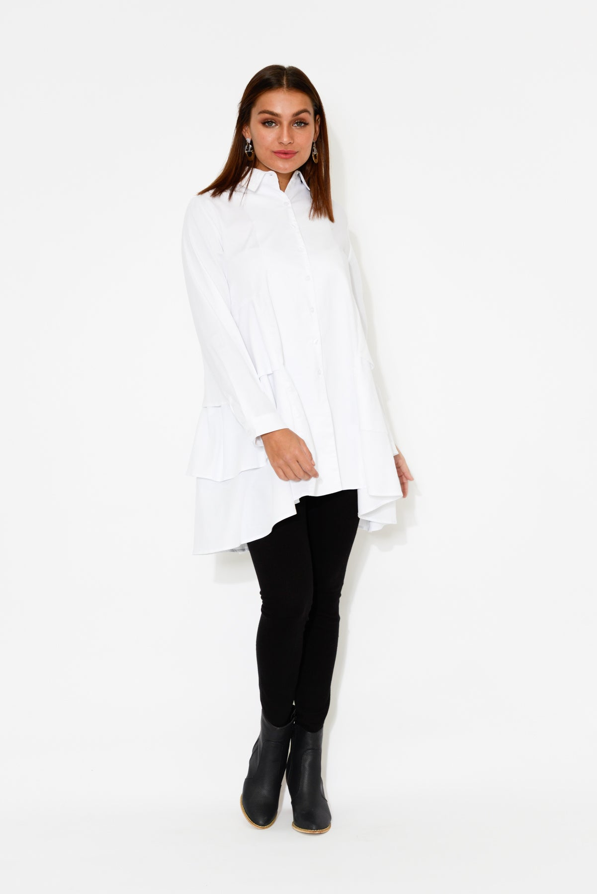 White Triple Layer Cotton Shirt - Blue Bungalow
