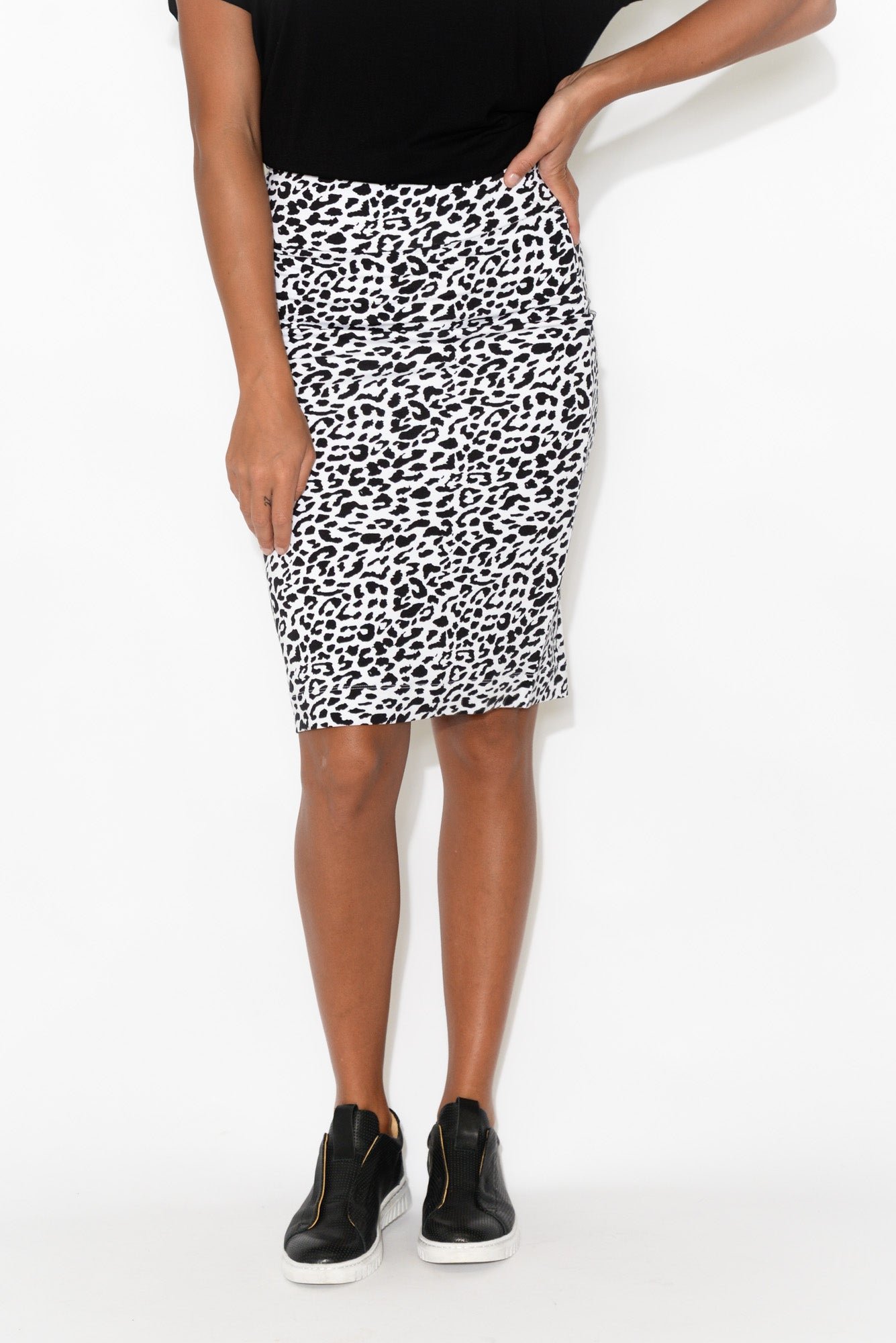 Whitney Black Leopard Bamboo Tube Skirt