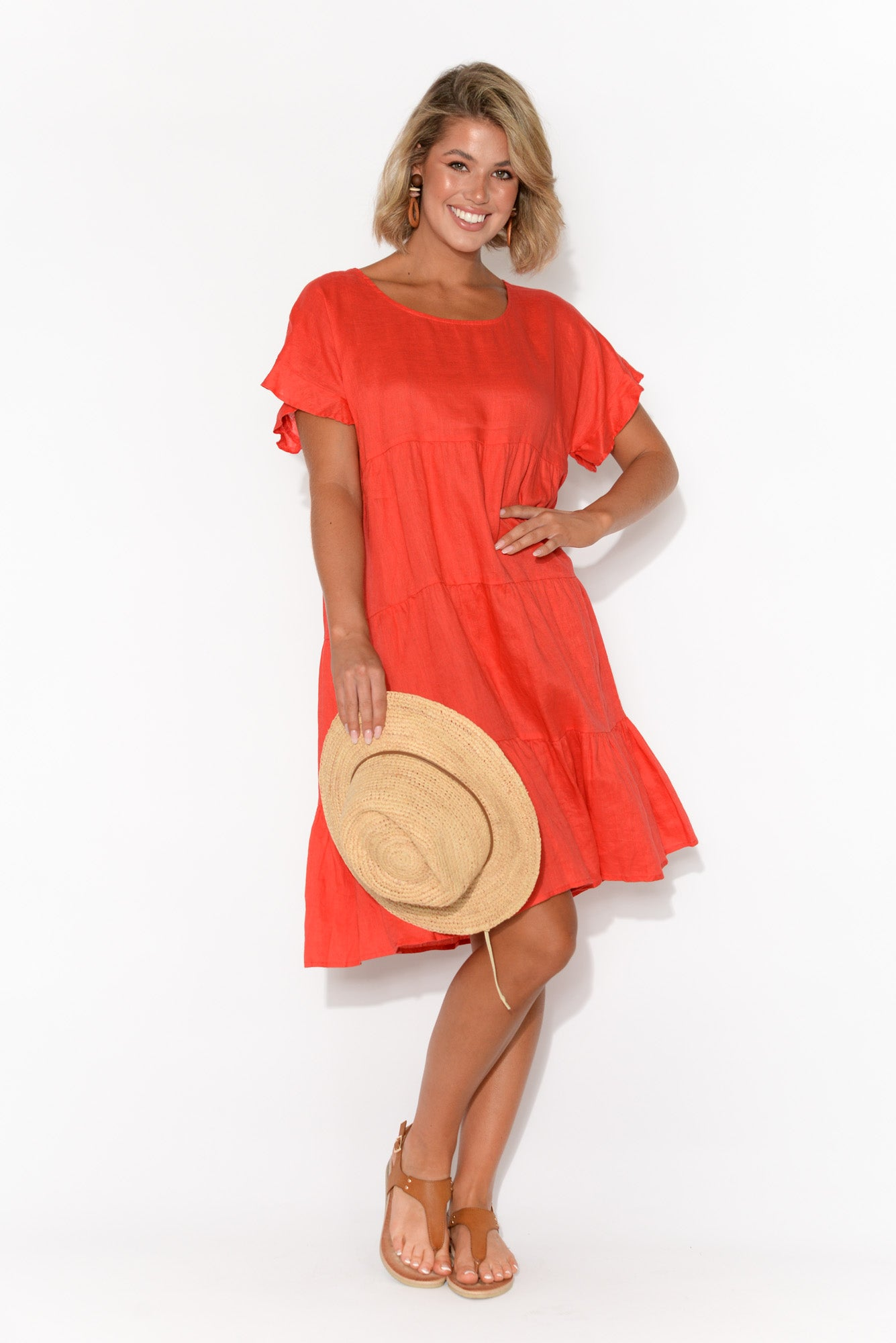 Winona Red Linen Tiered Dress