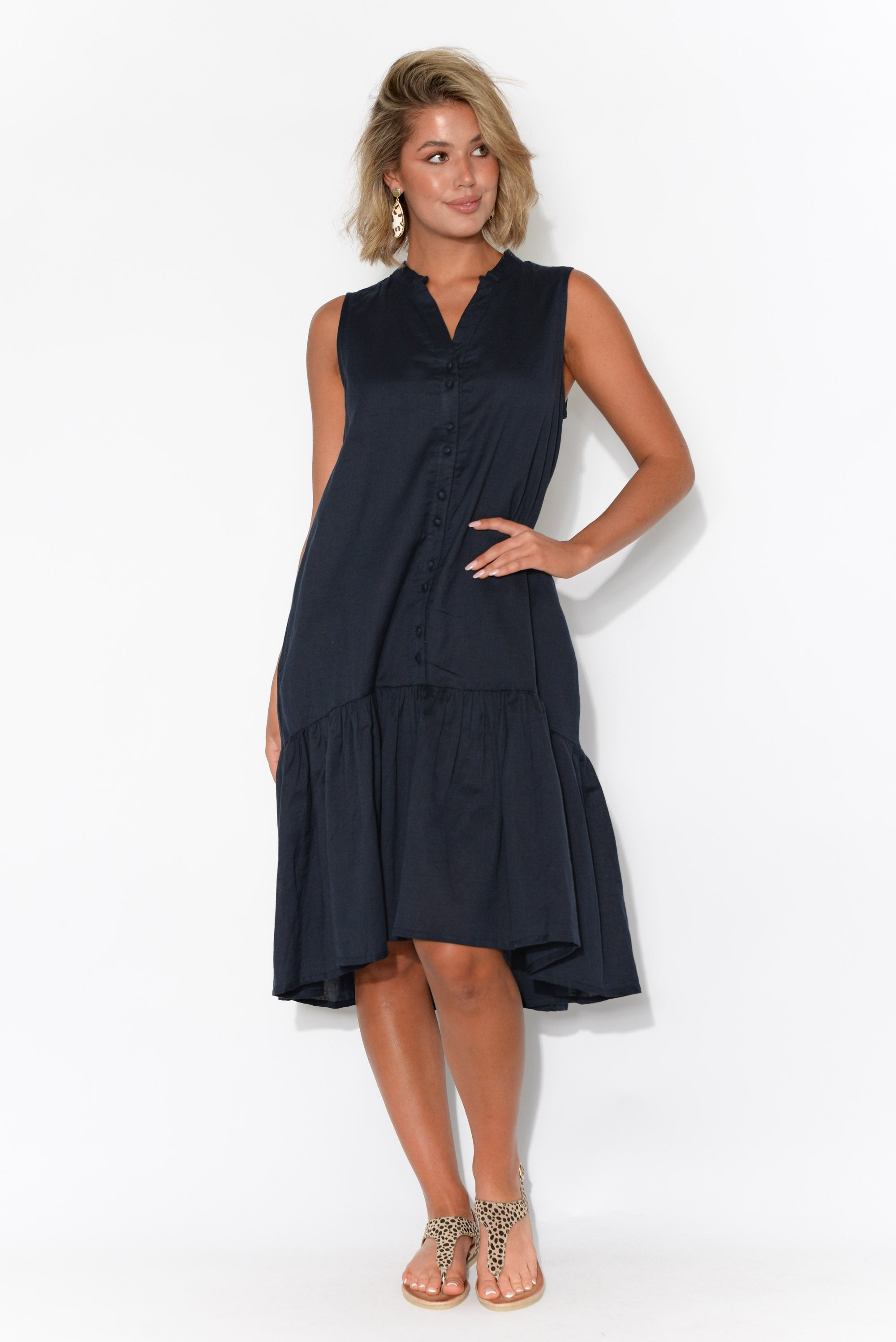 Yara Navy Linen Button Front Dress