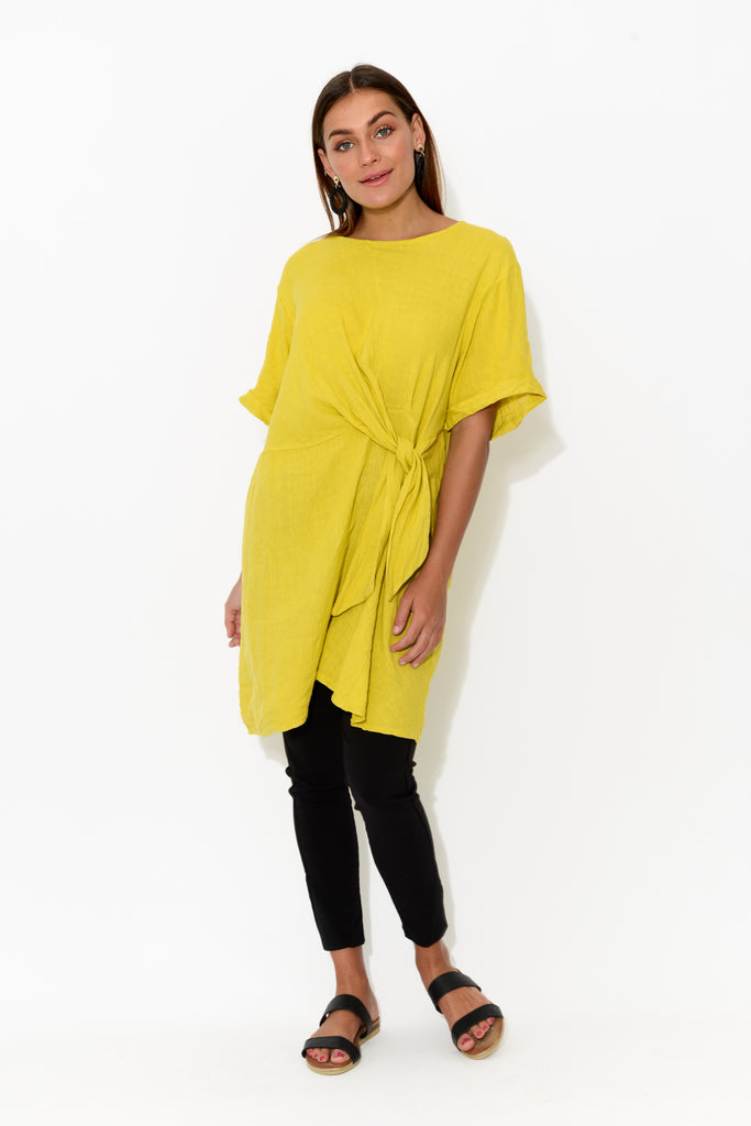 Yellow Knot Front Linen Tunic