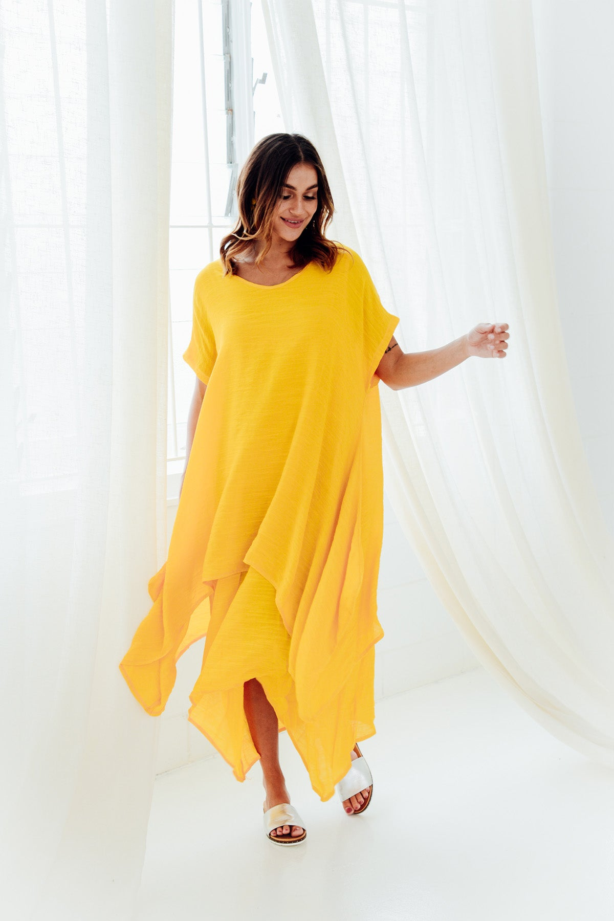 Yellow Tiered Cotton Dress
