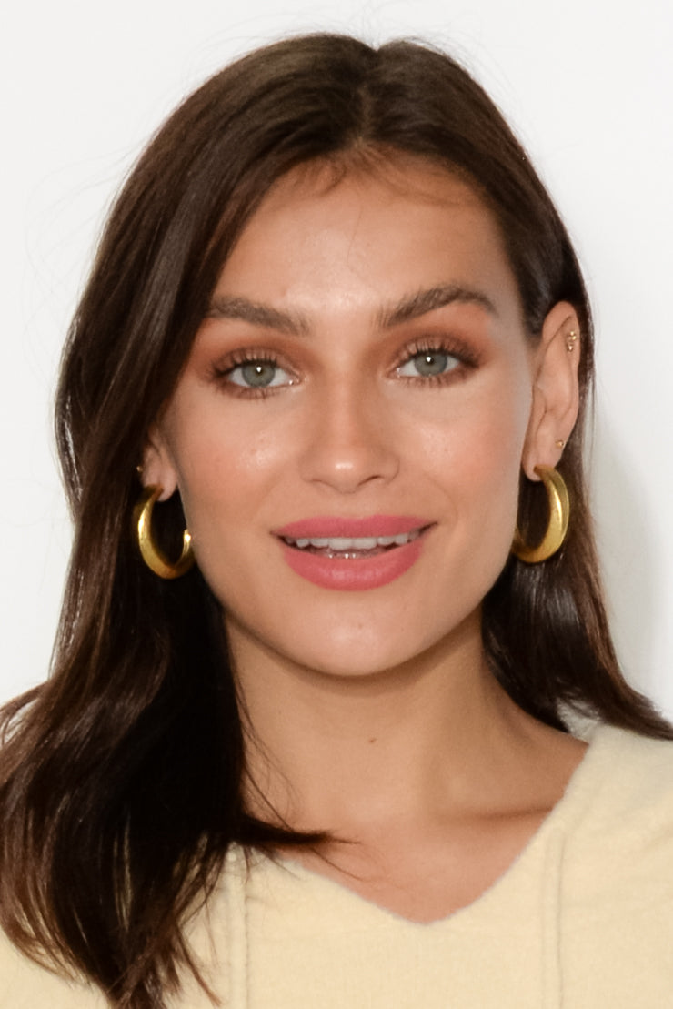 Yvie Gold Textured Hoop Earring