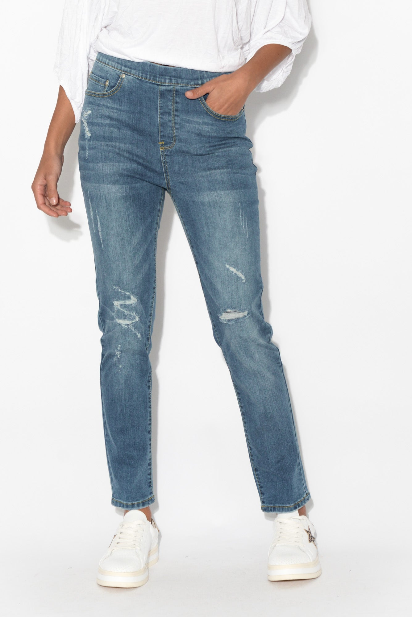 Zadie Distressed Blue Stretch Jean