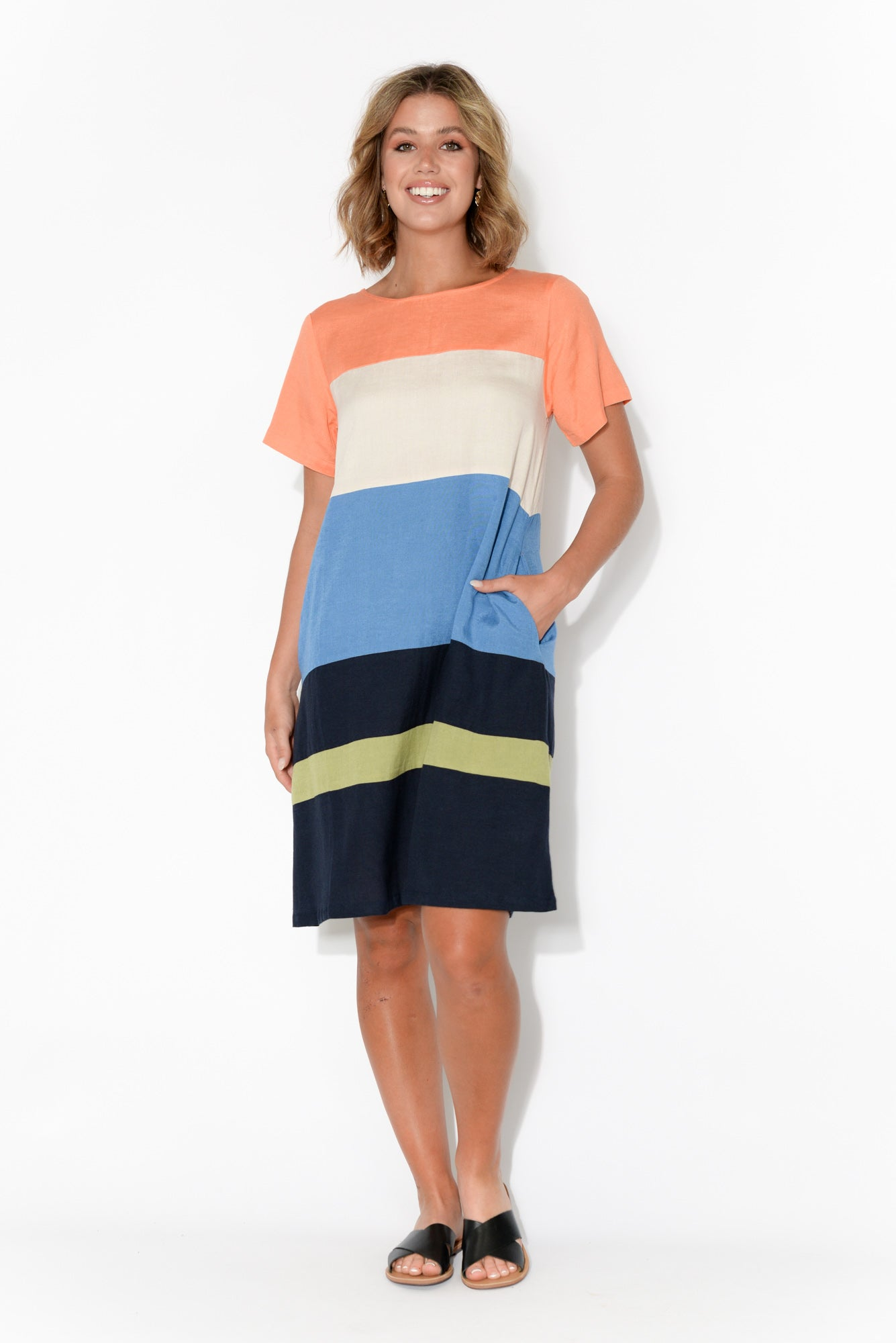Zara Orange Stripe Short Sleeve Dress