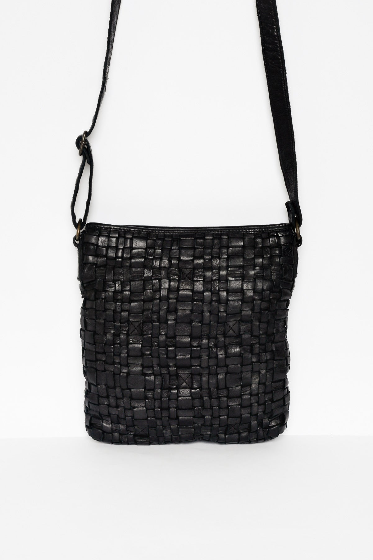 Zara Black Woven Leather Bag - Blue Bungalow