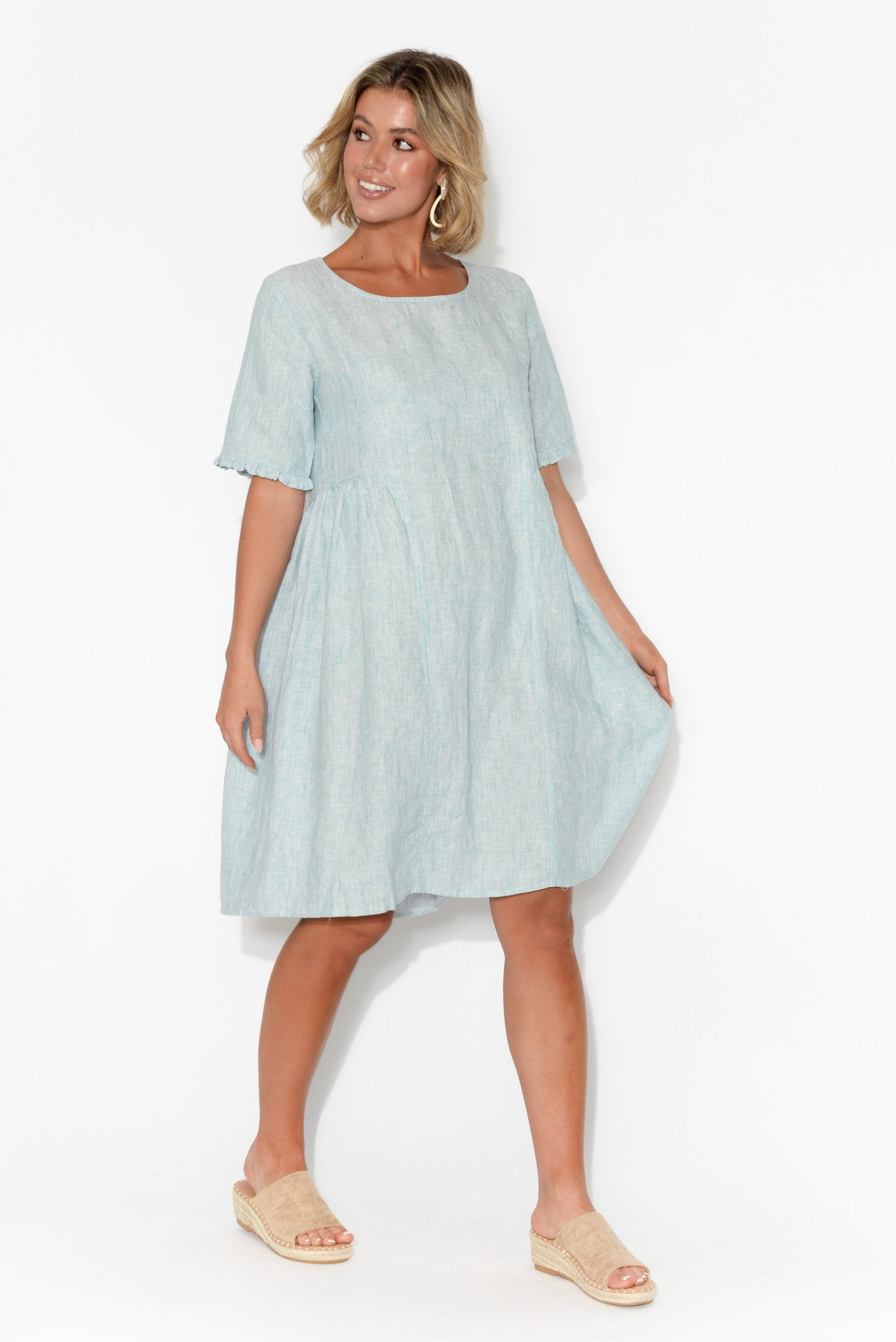 Zeta Light Blue Linen Panel Dress