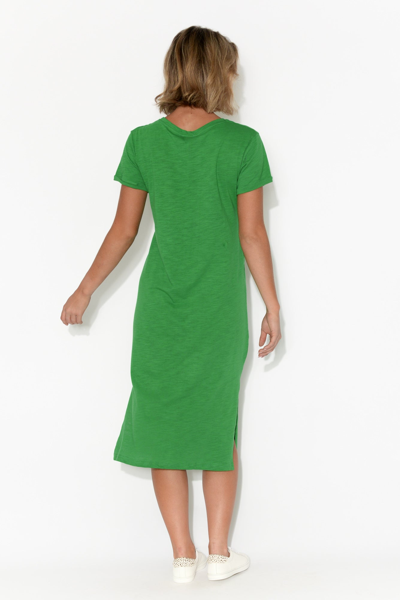 Zoe Green Cotton Slub Dress