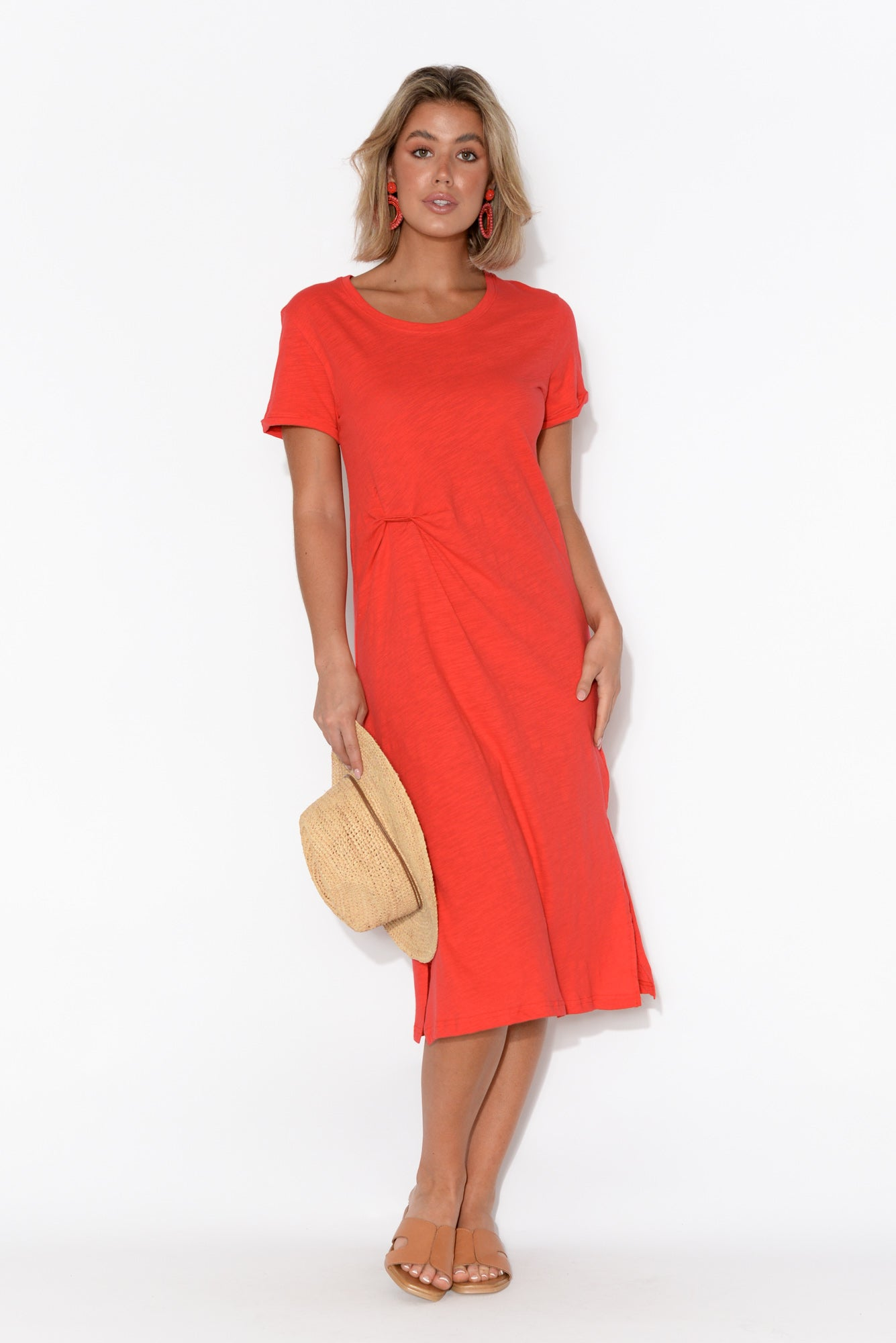 Zoe Red Cotton Slub Dress