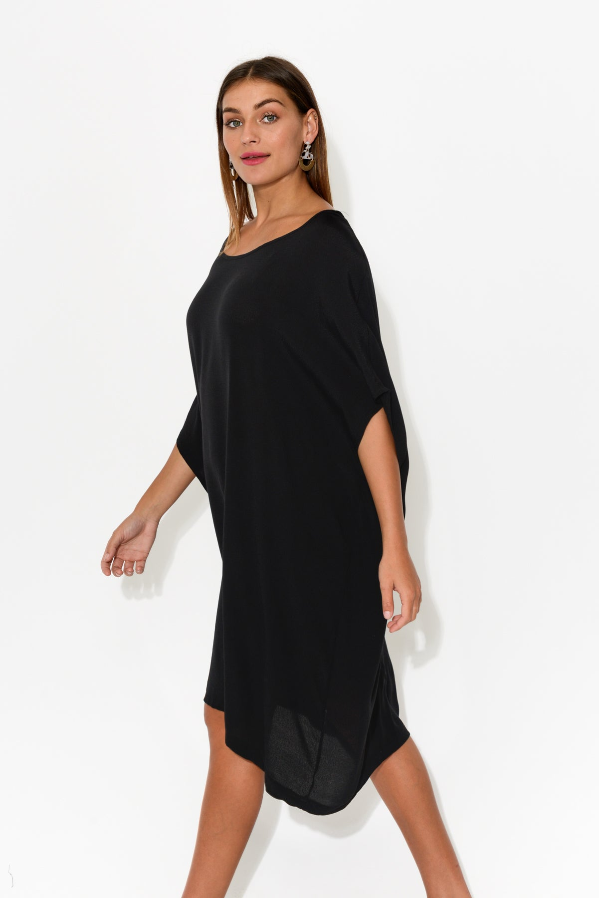 Zola Black Drape Dress