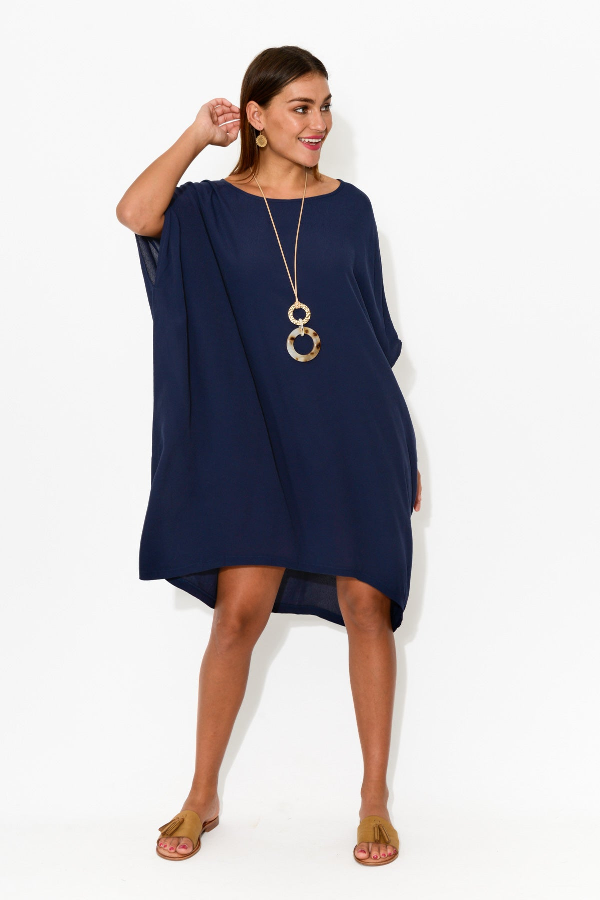 Zola Navy Drape Dress