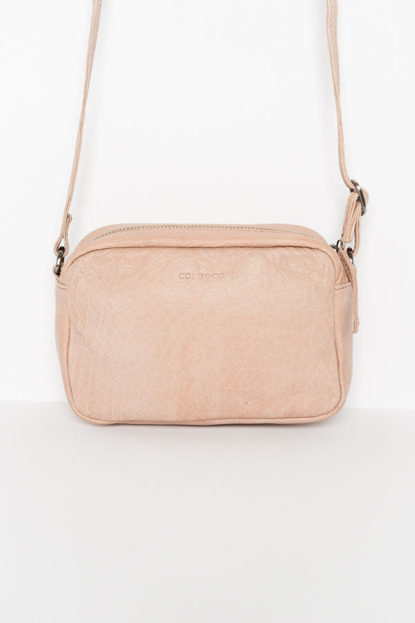 Berri Blush Leather Crossbody Bag