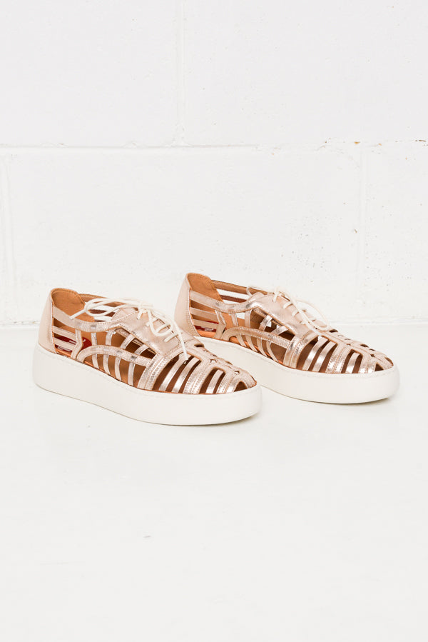 Rose Gold Cage Derby Lace Up Shoe - Blue Bungalow