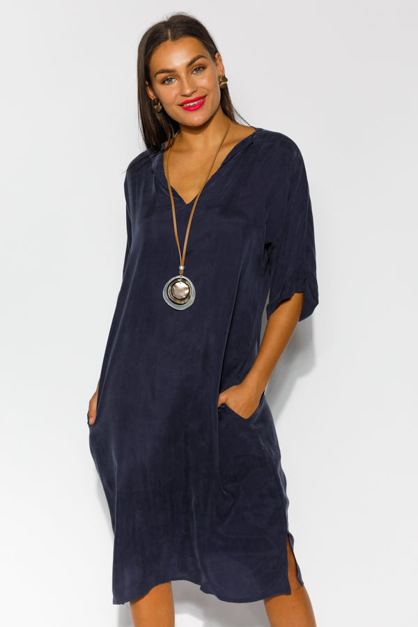 Kaya Navy Cupro Dress - Blue Bungalow