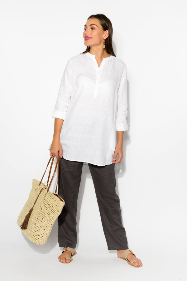 White Linen Tunic Top - Blue Bungalow