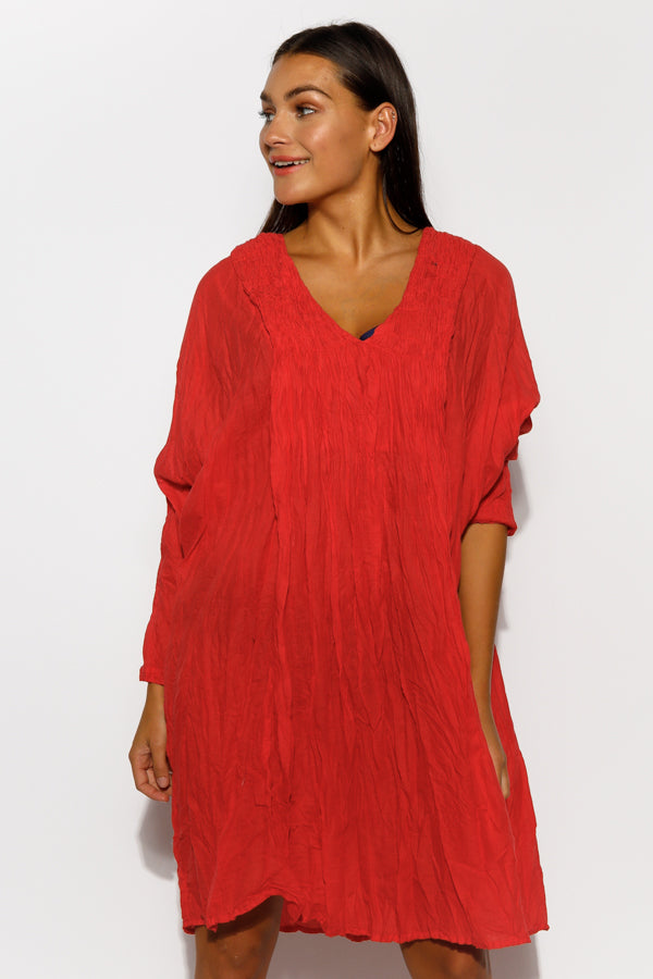 Red Cotton Pucker Dress