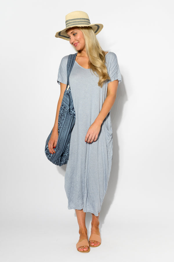 Blue Marle Pocket Cotton Draped Dress - Blue Bungalow