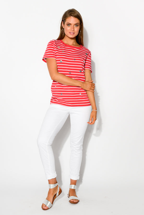 Red Stripe Sequin Cara Tee - Blue Bungalow