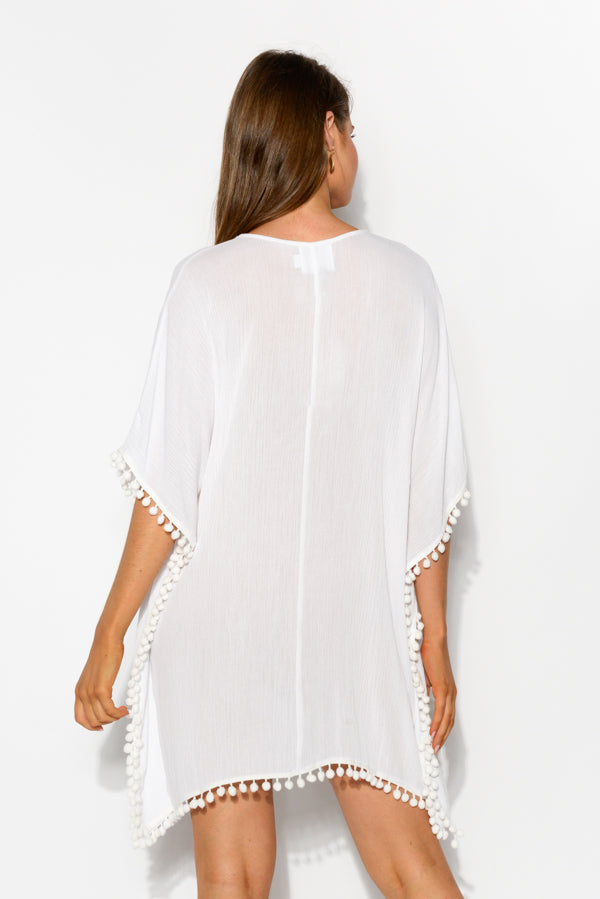 Cyclades White Fluoro Embroidered Kaftan